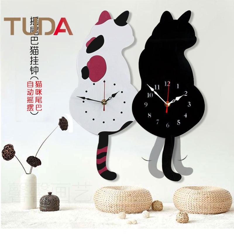 TUDA nouvelles Explosions acrylique montres dessin animé créatif horloge murale japon Wag queue chat horloge murale