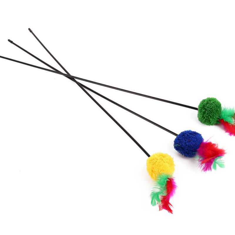 Pet Gatto interattivo Pompon Palla Giocattolo Sveglio del Gattino di Asta di Plastica e Pompon Colorati Giocattoli Gatto A Caccia di Giocattolo 3 Pcs di Colore casuale