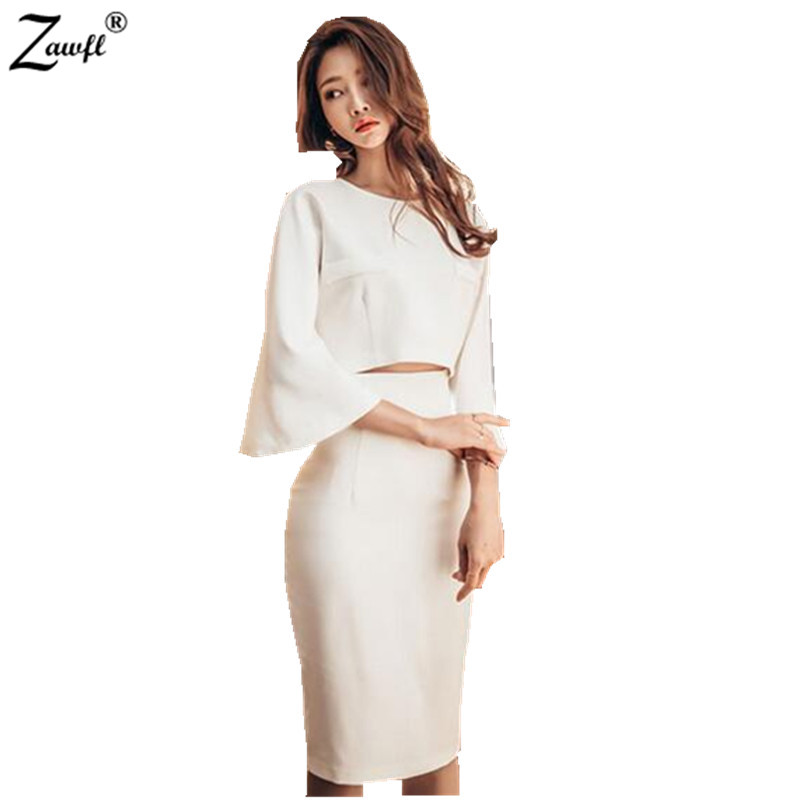 ZAWFL Spring Sexy Halter Slim Package Hip Party Wear To Work Pencil Sheath Suit Skirt Crop Top And Skirt Casual 2pcs Set