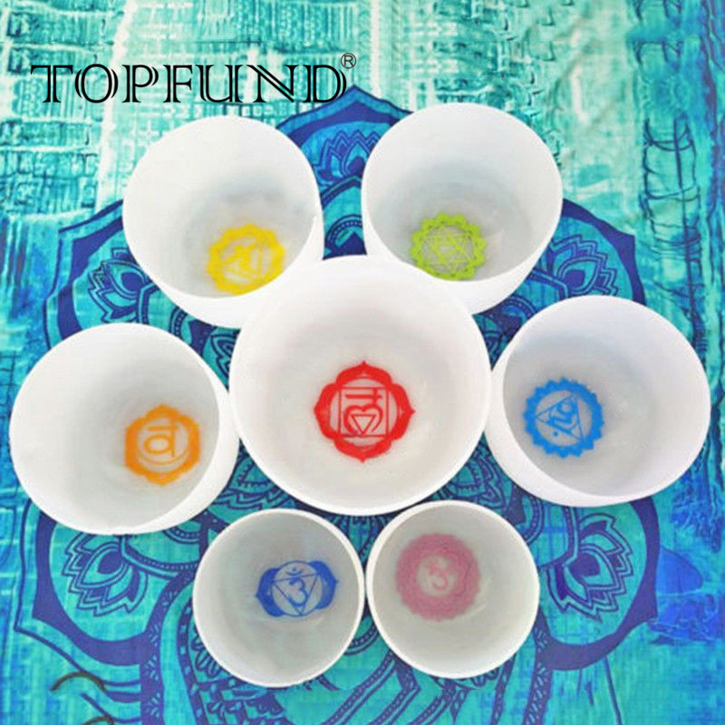 TOPFUND Chakra 432hz Tuned Set with Paternoster of 7 Crystal Singing Bowls 8-12 chakra tuned set of 7 frosted gem fused quartz crystal singing bowls 8 12 8a b g 10 c d e and 12 f