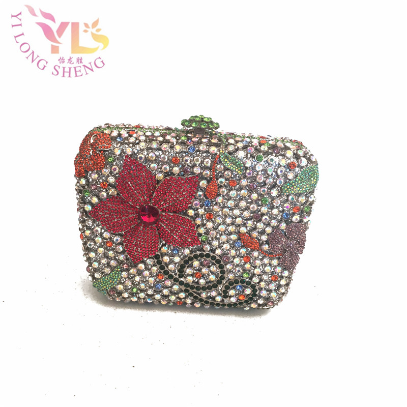 Evening Clutch Bags Women Wedding Bags Floral Design Hard Flower Hard Clutches Party Fashion Handbags Chain Shoulder Bag YLS-F33 стоимость