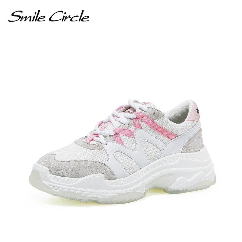 Sourire cercle femmes Chunky baskets à lacets respirant maille chaussures décontractées 2019 printemps épais bas chaussures pour femmes baskets