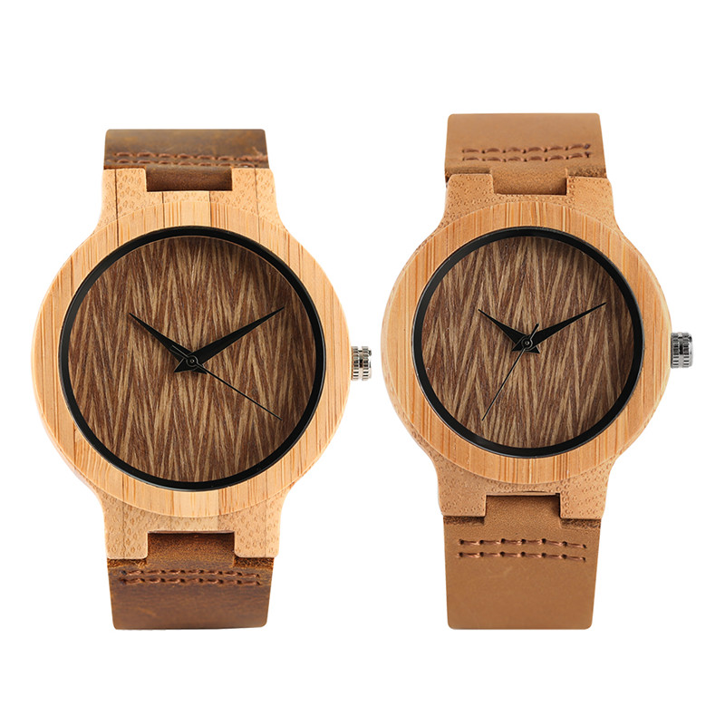 Trendy Wave Dial Lovers' Wrist Watch Nature Handmade  Casual Men Bamboo Quartz Clock Genuine Leather Band Women Bracelet Gift
