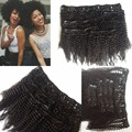 Peruvian human hair afro Kinky Curly Clip In Hair Extensions Natural Hair 4a 4b African American Clip In Human Hair