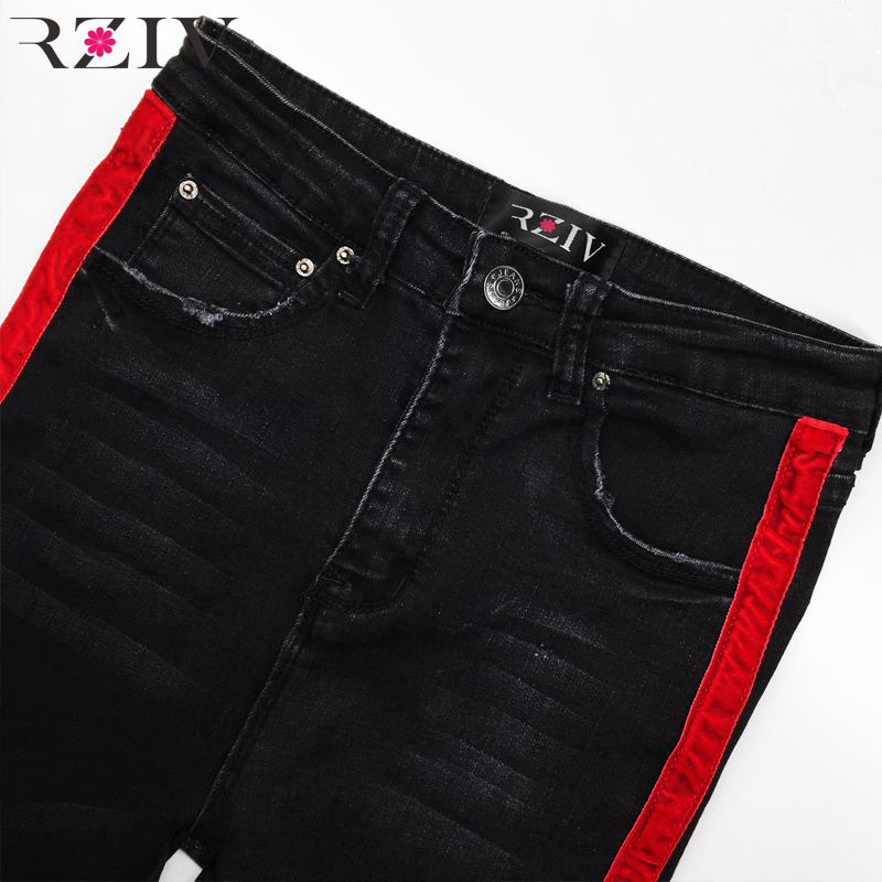 RZIV jeans woman casual stretch denim solid color stitching waist black jeans and skinny jeans trouser