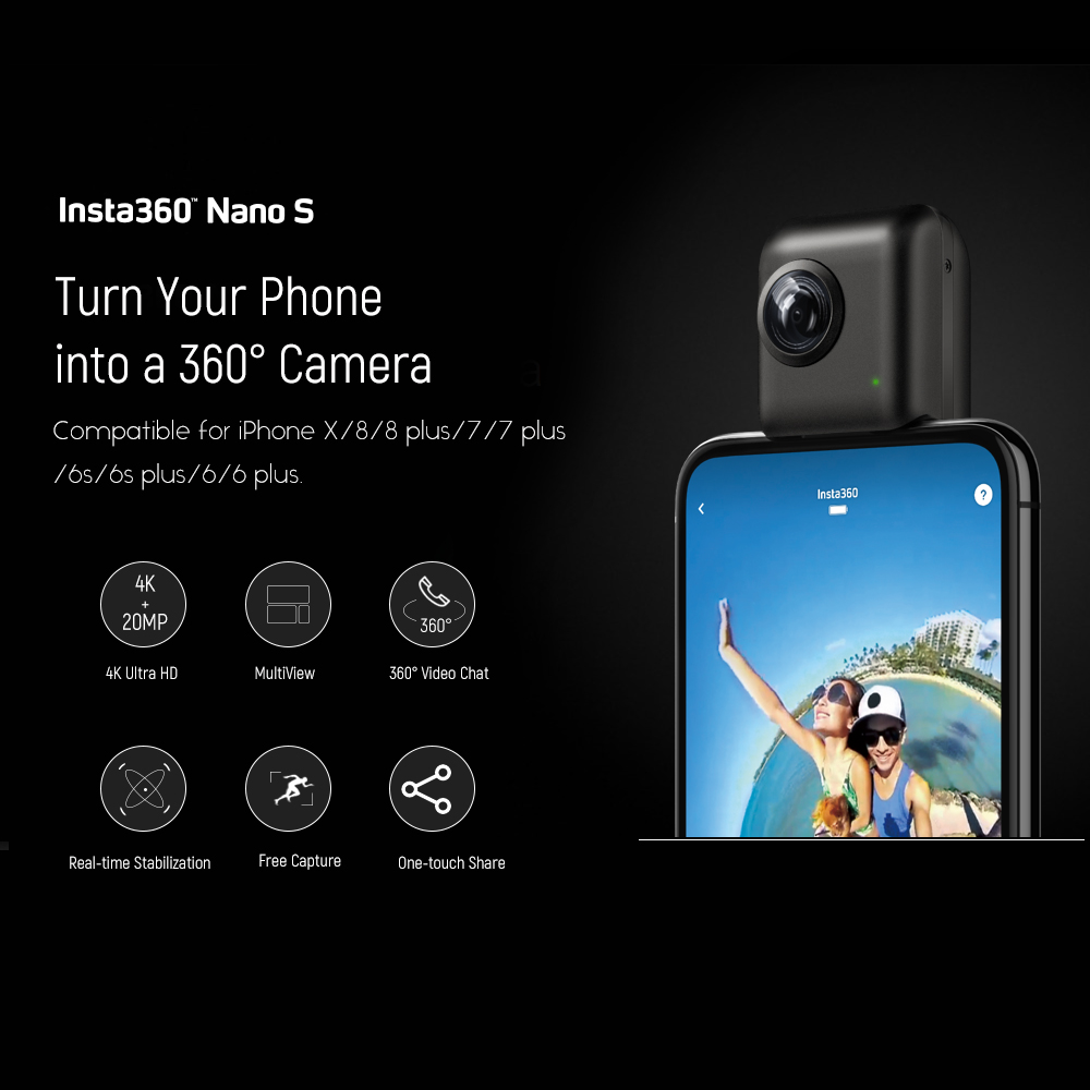 Image result for Insta360 Nano 4K 20MP 360 VR Video Camera Panoramic Livestream Video Chat MultiView Video Camera for iPhone X/8/8 plus/77 plus