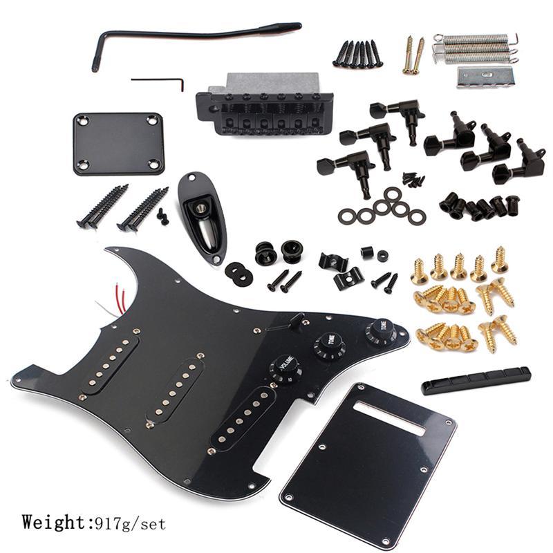 DIY Electric Guitar Kit Pickguard Back Cover Bridge System ST Style Full Accessories Kit