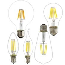 led edison bulb c35 g80 g95 g125 st64 a60 vintage led lamp filament bulb e14 e27 220v light 2w 4w 6w 8w retro light