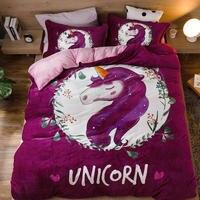 Unicorn owl Twin Queen size Bedding Set Kids Fleece Warm Bed set Bed linen Bedsheet Duvet cover parrure de lit ropa de cama