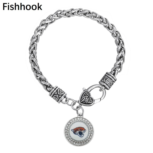1e3d1cb7 Fishhook Sports men Jacksonville Jaguars enamel crystal paster charm  bracelet 20cm antique silver plated wheat link chain-in Charm Bracelets  from ...