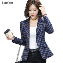 Lenshin Soft Comfortable Plaid Jacket with Pocket Office Lady Casual Style Blazer