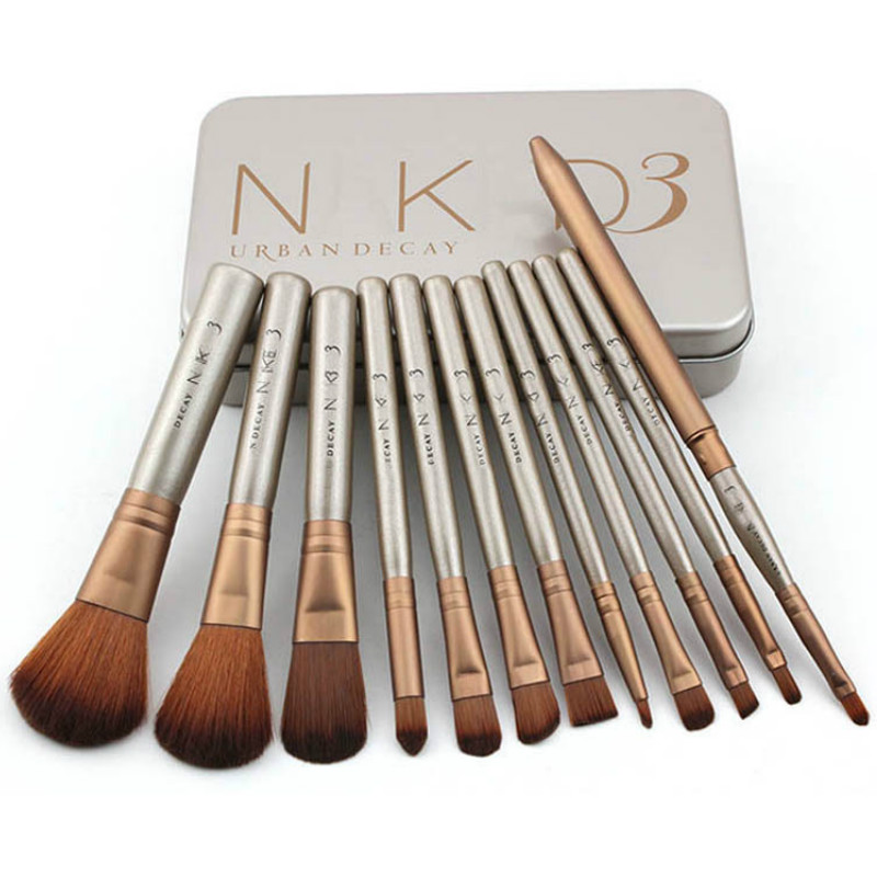 Iron Box NK3 Portable 12pcs Eyeshadow Makeup Brushes Set Pro Rose Gold Eye Shadow Blending Make Up Brushes Soft Synthetic Hair