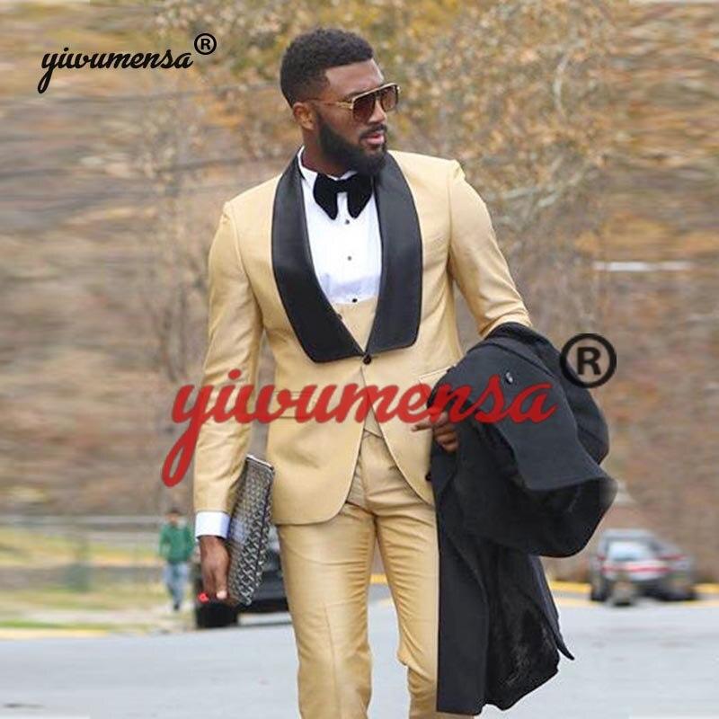 Czarny szal Lapel złoty garnitury ślubne dla mężczyzn wykonane na zamówienie Trajes De Hombre 2019 3 sztuk (kurtka + kamizelka + spodnie) prom garnitur strój pana młodego w Garnitury od Odzież męska na  Grupa 1
