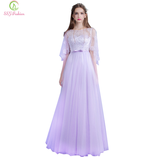 2017 SSYFashion Sweet Light Purple Beading Speaker Sleeves Long Evening  Dress The Bride Banquet Party Gown Custom Prom Dresses 2ee0f15df93d