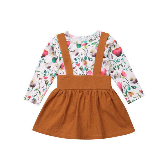 5fa3012b7b1 Emmabay Toddler Kids Baby Girl Floral Long Sleeve Romper+Suspender Skirts  Fashion Outfits Clothes 1