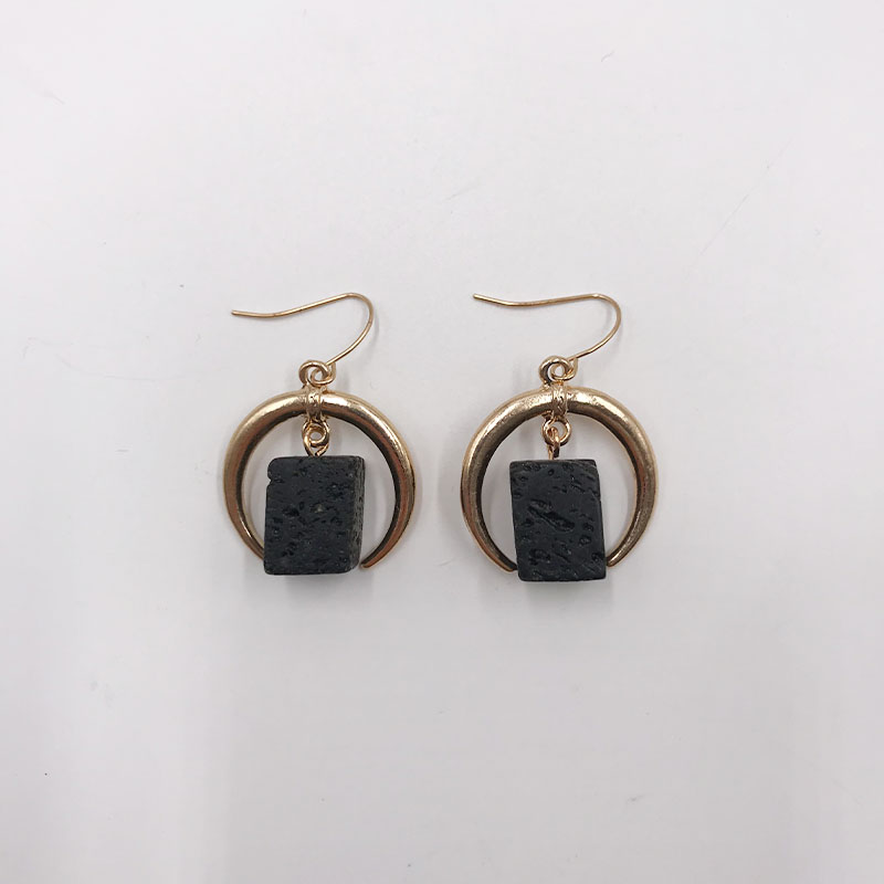 Kara&Kale Boho Fashion Jewelry Gothic Square Black Natural Stone Beads Drop Earings Vintage Gold Earrings For Women ED013