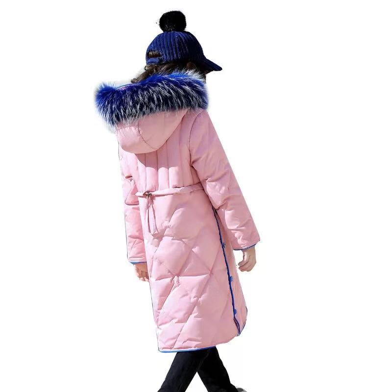 Girls Down Coat Long Children Kids Parka Jackets 2018 Warm Teenage Girls Winter Coats with Big Fur Hooded Size 6 8 10 12 14 new 2018 fashion children winter jackets girls winter coat kids warm hooded long down coats for teenage girls casaco infantil 12