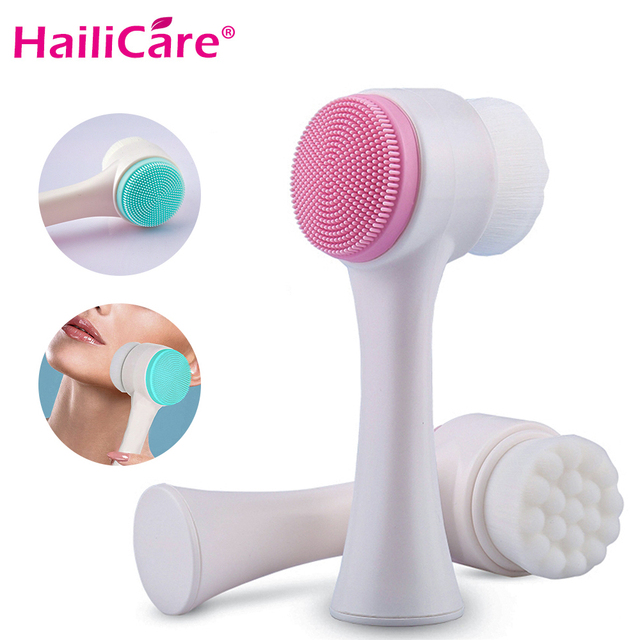 3D Double Sides Multifunctional Silicone Face Cleanser Facial Cleansing Brush Portable Face Cleaning Massage Tool Facial Brush
