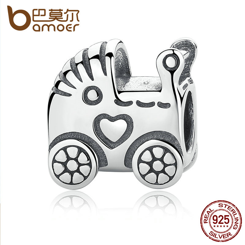 BAMOER Authentic 925 Sterling Silver Baby Carriage Charm Charms fit Original Brand Bracelet Beads & Jewelry Making PAS308 925 sterling silver charms brush crystal pendant european charm beads fit bracelet bangle original jewelry making