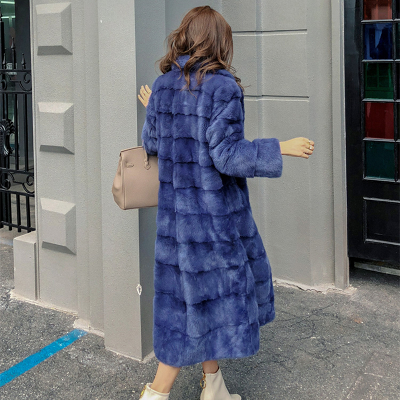 Real Mink Whole Fur Women X-Long Coat  Winter Slim Warm Female Mink Fur Long Turn-down Collar Jacket