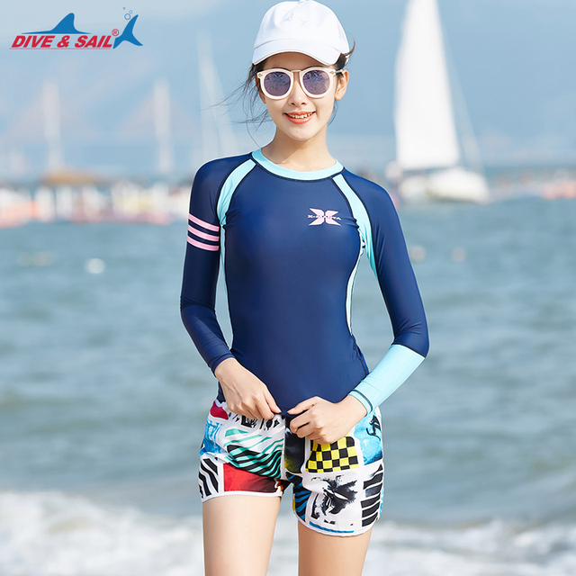 05f4fc3272 Women's Long Sleeve Rashguard Swimsuit Top UPF 50+ Swim Shirt Trunks Boat  Short Set of