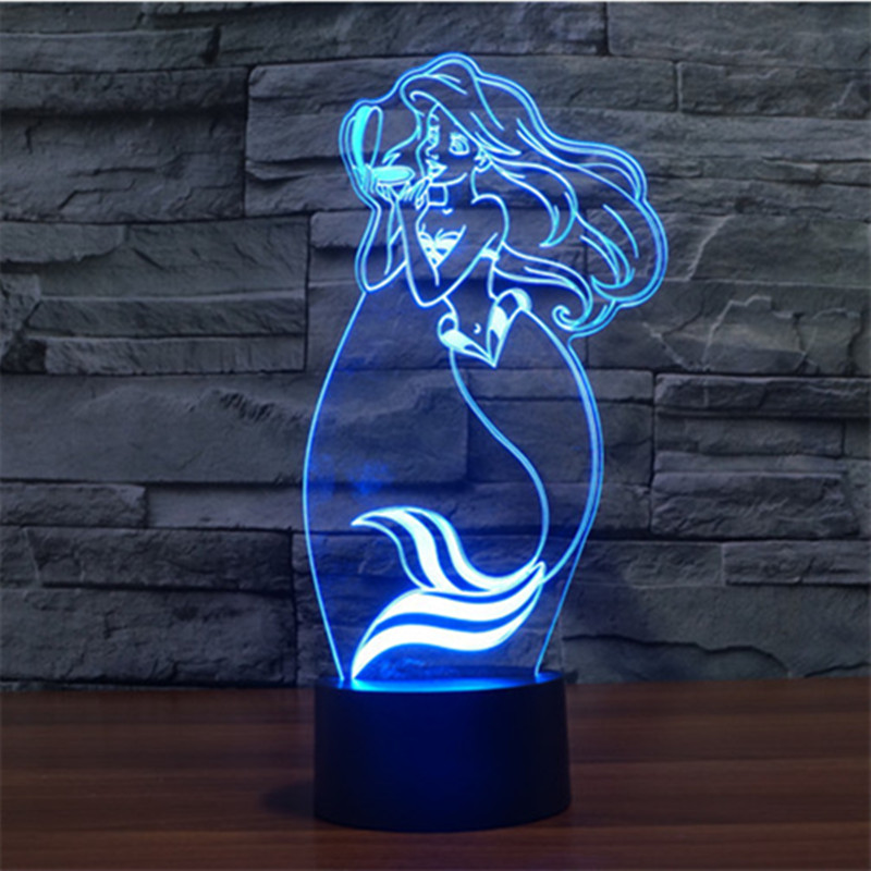 Colorful Mermaid 3D USB Led Touch Switch Visual Lights Home Decor Atmosphere Bedroom Creative Three Dimensional