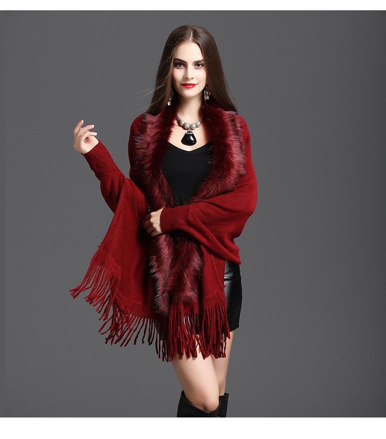 Faux Fur Collar Shawl Cardigan Tassel Winter Warm Coat 62