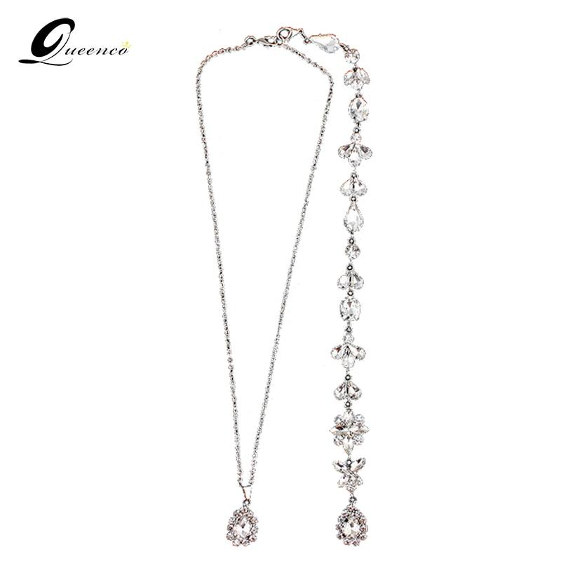 9d21934bd 2019 Wedding Backdrop Necklace Bridal Crystal Necklace Back Drop Chain  Statement Necklace Fashion Stunning 2-