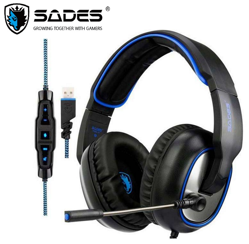 SADES R7 Gaming Headset USB Gaming Headphones Virtual 7 1 Channel Surround Sound For PC Mac