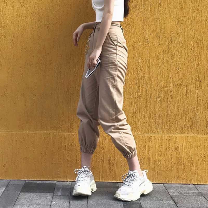 Весенние винтажные черные брюки карго с цепочкой, женские брюки с высокой талией, мешковатые джоггеры, женские уличные брюки размера плюс