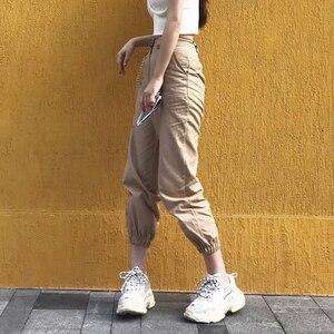 Image 2 - Spring vintage chain black cargo pants women high waist pants joggers baggy trousers women streetwear plus size