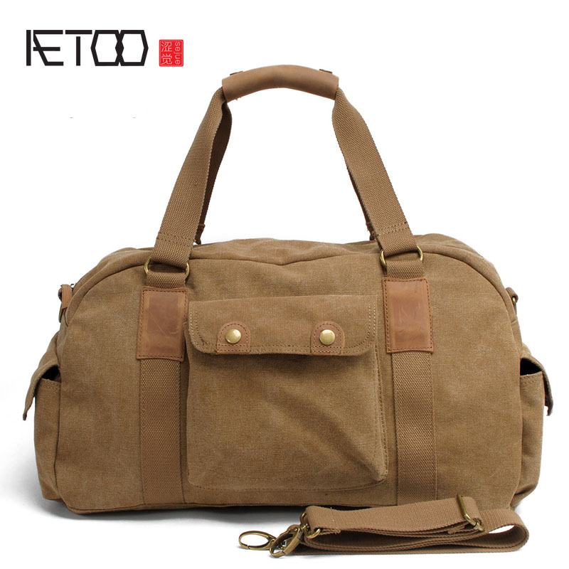 AETOO Retro Large Capacity Shoulder Bag Men's Handbag Travel Bag Canvas Messenger Bag Male large size handbag retro bag 100