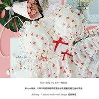 strawberry flower chiffon flowers without rims triangle cup comfortable non trace suits lingerie set underwear women dessous