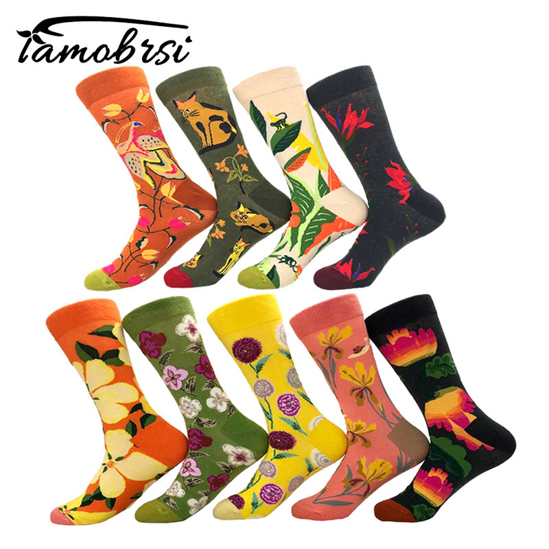 Cool Plant Flower Sunflower Cat Cartoon Funny Crazy Winter Sox Women Streetwear Happy   Socks   Brand Men Cotton Thick Warm   Socks