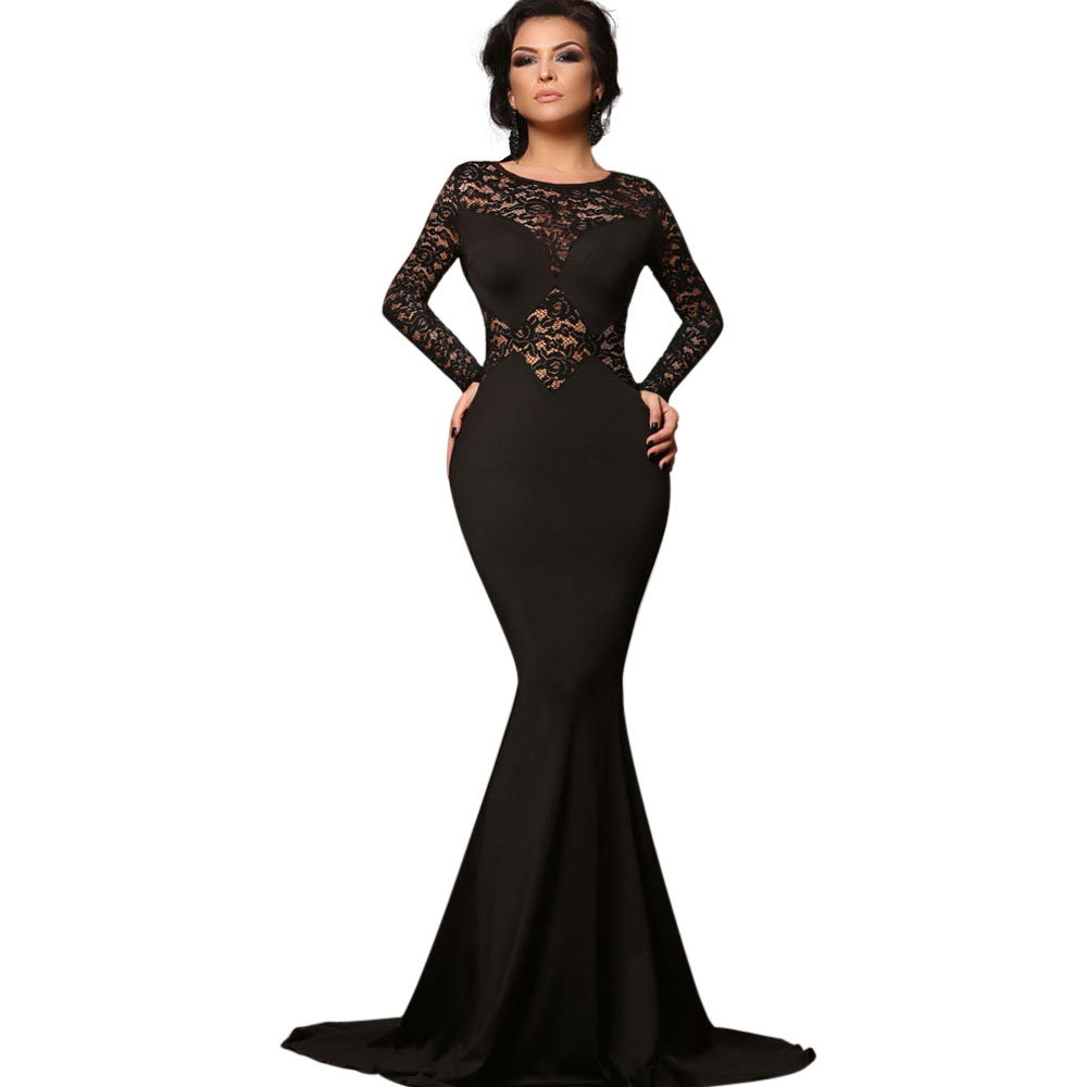 Wendywu Fashionable New Elegant Lace Long Sleeve Solid Black Mermaid Long Dress for Prom