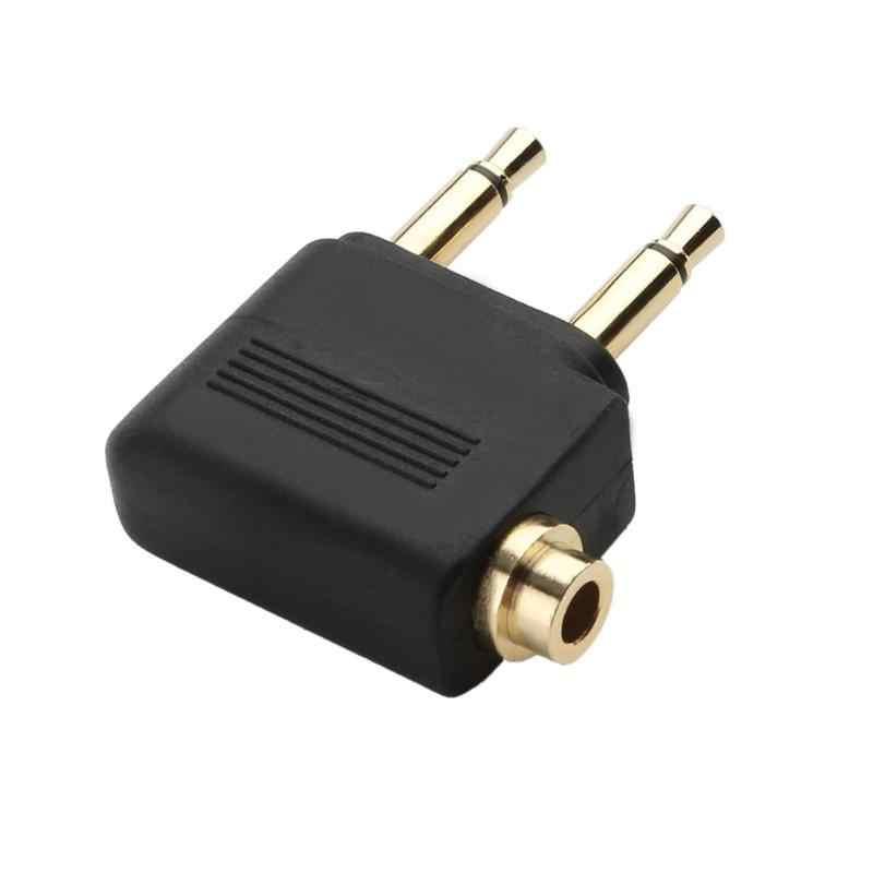 Adaptor Steker Jack Audio Headphone Converter Adaptor Headset Konektor 3.5 Mm untuk Maskapai Penerbangan Pesawat Perjalanan Earphone