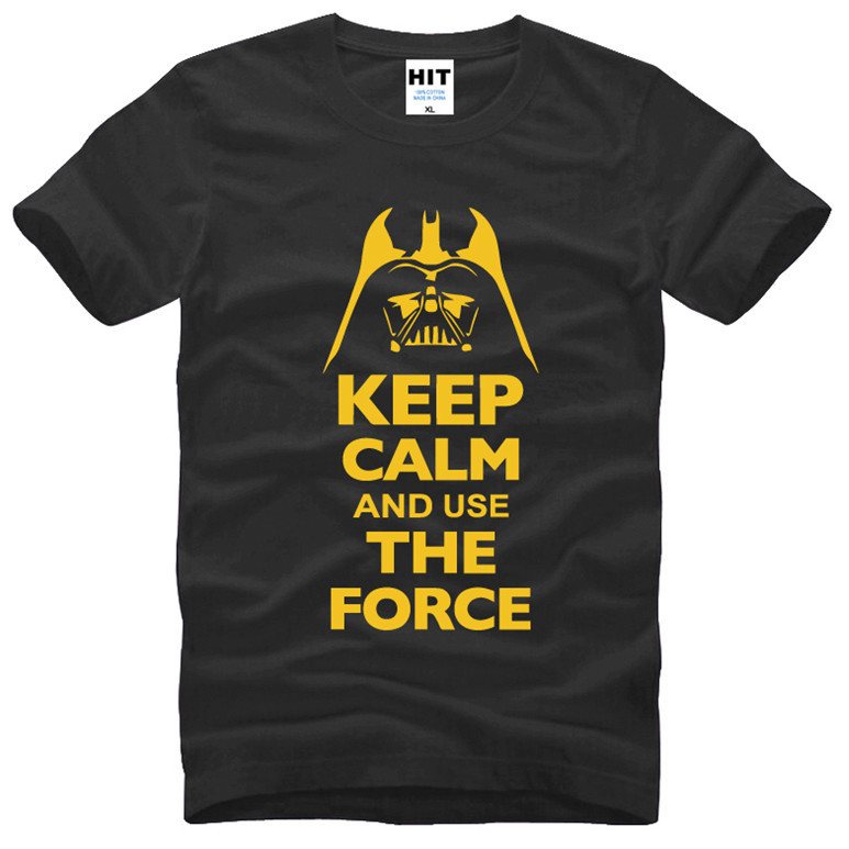 Mantieni la calma e usa The Force Stampa STAR WARS Movie T Shirt Tshirt Uomo Uomo Moda 2016 T-Shirt in cotone Tee Shirt Homme
