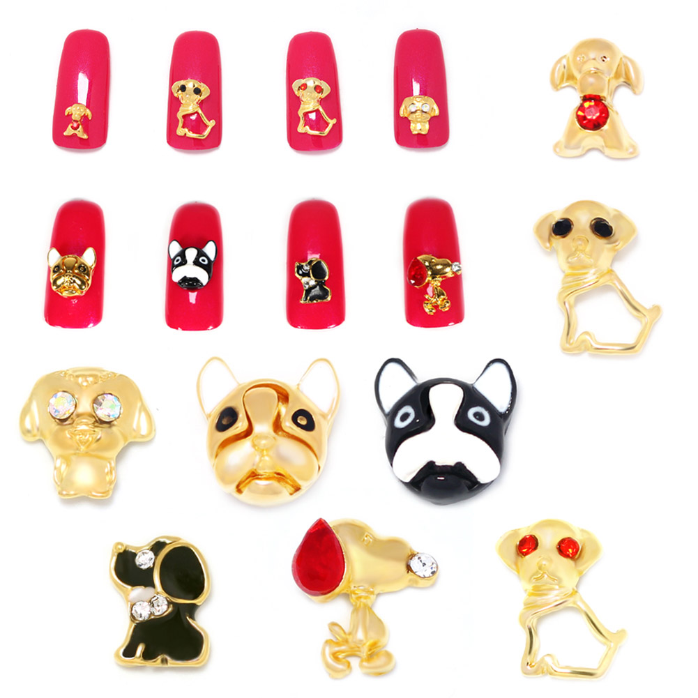 High Quality 10 Pcs/bag Alloy Nail Jewelry Cute Three-Dimensional Dog More Specifications Cute Pet Series