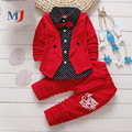 2016 Spring Two Fake Kids Boys Button Letter Bow Suit Sets Children Jacket Pants 2 Pcs Clothing Baby