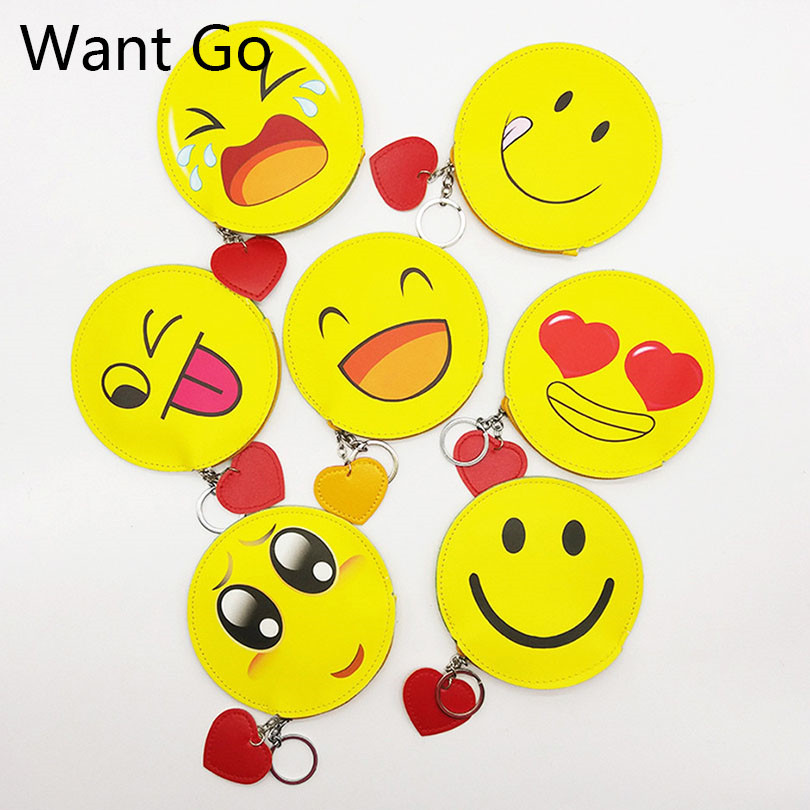 Want Go Sweet Smiley Emoticon Children Coin Purses Yellow Emoji Zipper Leather Kids Coin Wallet Bag Portable Student Girl Purse
