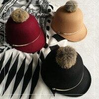 Korean Cute Hat Hair Ball British Chain Knight Wool Riding Hat Retro Hat Peaked Cap Autumn