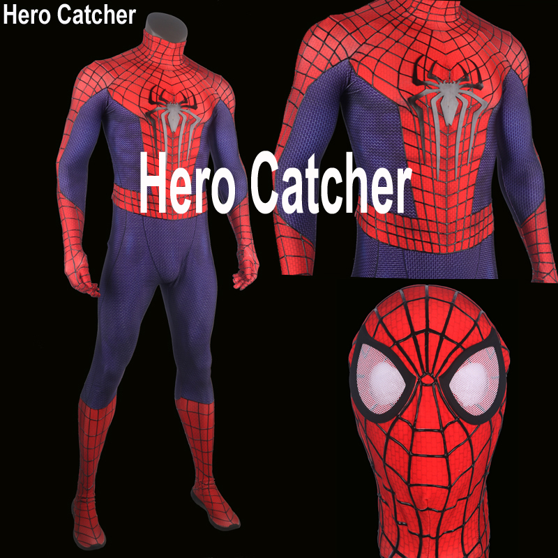 Hero Catcher High Quality 3D Cobwebs Spiderman Costume 3D Logo Amazing Spiderman Suit Super Hero Spiderman Fullbody Zentai Suit