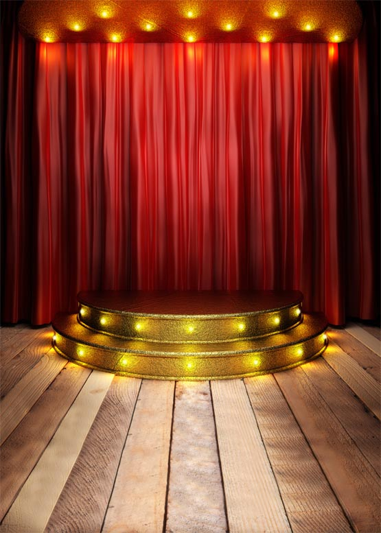 Golden Stage Photography Backdrops Opera Stage Play Fabric