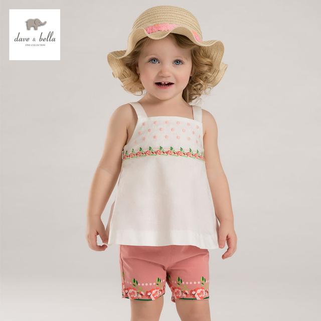 Dave bella DB3436 pontos impressos meninas bordados de flores das meninas do bebê verão conjuntos de roupas sem mangas meninas conjuntos