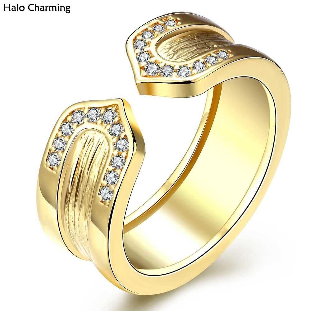 55b415fd6bc9 Mejor calidad partido mujeres regalo anillo de moda romántico cobre ZIRCON  clásico boda Rosa oro