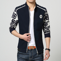 New Autumn Mens Jackets Elegent Stand Collar Men's Jacket and Coat Quality Slim Fit Spliced Knitted Sleeve Jacket Men Clothing