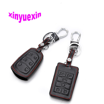 Xinyuexin Leather Car Key Cover Case For Cadillac CTS ATS 28T CTS-V coupe SRX Escalade Remote Key Jacket With Keychain No Logo image
