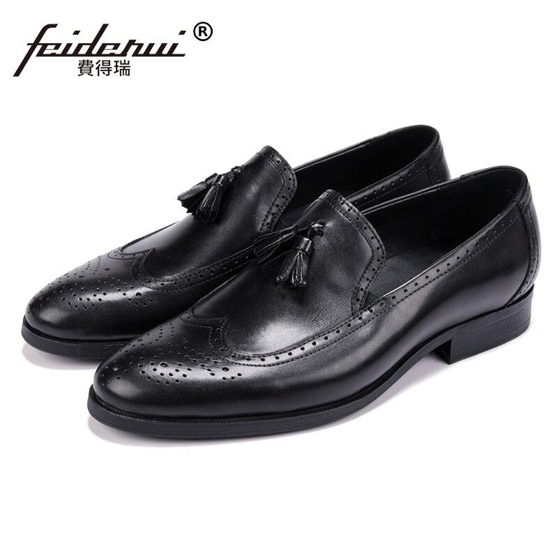 Vintag Round Toe Man Formal Dress Shoes Genuine Leather Carved Brogue Loafers British Designer Men s