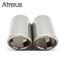 Atreus 2PC 자동차 스테인레스 스틸 배기 팁 머플러 파이프 커버 아우디 A4 B8 A6 C6 액세서리 아우디 A3 A5 Q5 Q7 Q3 A1 S 라인