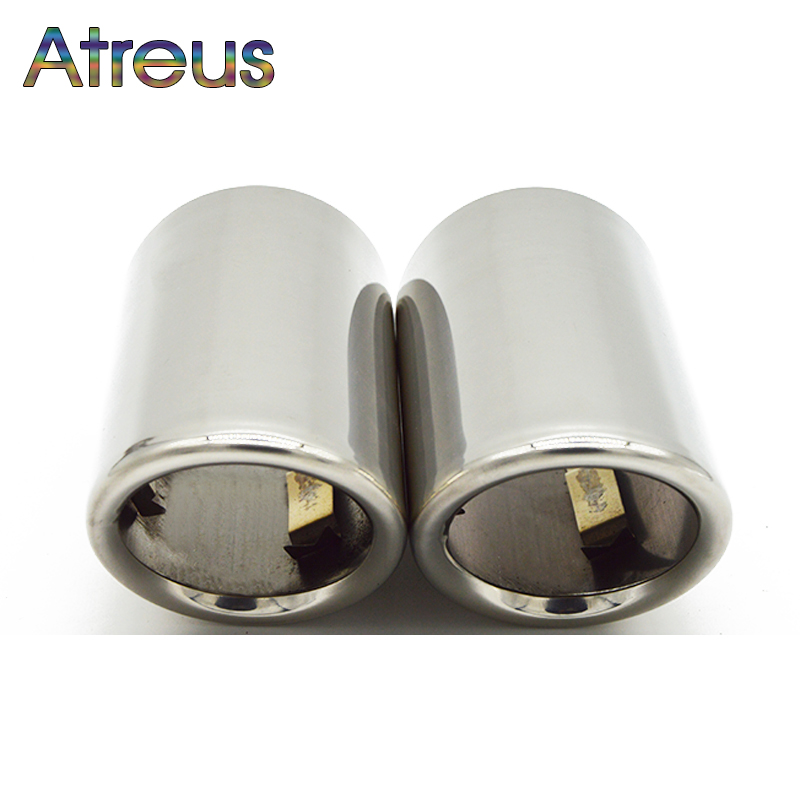 Atreus 2PC Car Stainless steel Exhaust Tip Muffler Pipe Cover For Audi A4 B8 A6 C6 Accessories For Audi A3 A5 Q5 Q7 Q3 A1 S line image
